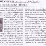 Manuel franco-africain: article du journal La Croix du Samedi 13 octobre 2012